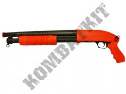M58B BB Gun M500 Short Replica Pump Action Spring Airsoft Shotgun 2 Tone Black Orange